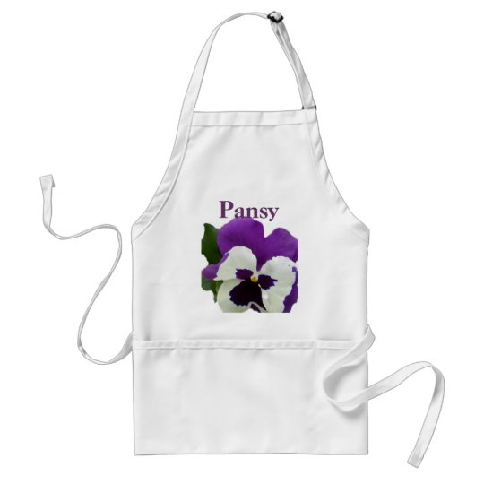 8 Purple White Pansy Adult Apron