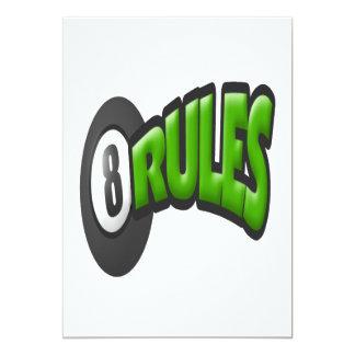 """8 reglas de la bola invitación 5"""" x 7"""""""