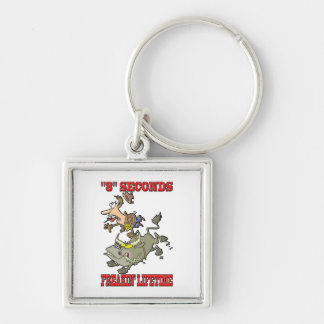 """""""8"""" Seconds - Freakin' Lifetime Silver-Colored Square Keychain"""