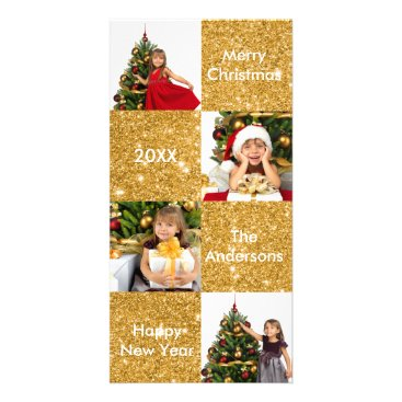 Christmas Themed 8 Squares Gold Glitter - Christmas Photo Card