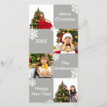8 Squares Gray Snow - Christmas Photo Card