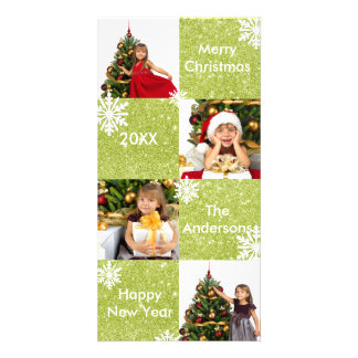 8 Squares Green Glitter- Christmas Photo Card