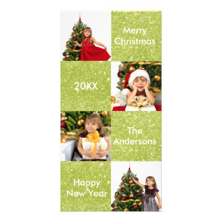 8 Squares Green Glitter - Christmas Photo Card