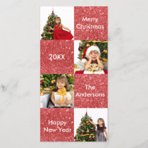 8 Squares Red Glitter - Christmas Photo Card