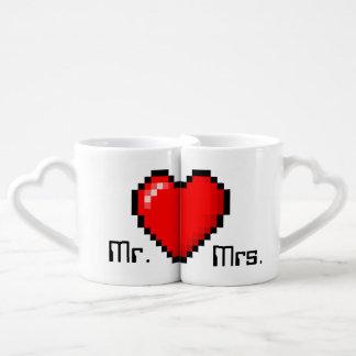 8 tazas de café de los pares del videojugador del tazas para enamorados