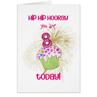 8 today cupcake birthday card