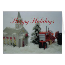 8 toy tractors at christmas card