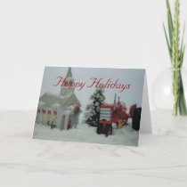 8 toy tractors at christmas holiday card