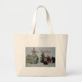 8 toy tractors at christmas large tote bag
