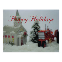 8 toy tractors at christmas postcard
