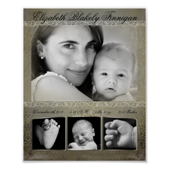 """8""""x10"""" 4 Slot Family Collage Montage Antique Damas Poster"""