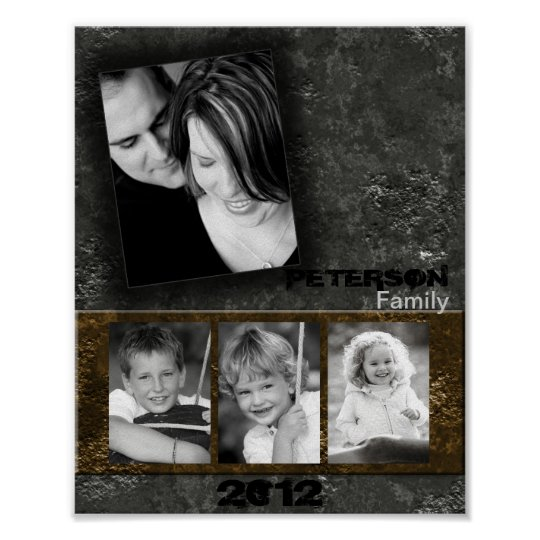 """8""""x10"""" 4 Slot Family Collage Montage Inked Poster"""