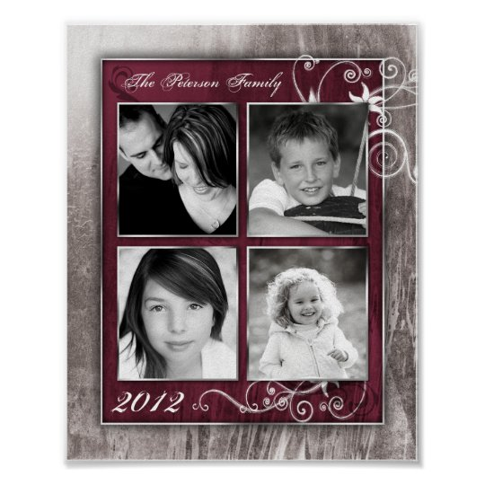 "8""x10"" 4 Slot Family Collage Montage Steel Magnoli Poster"