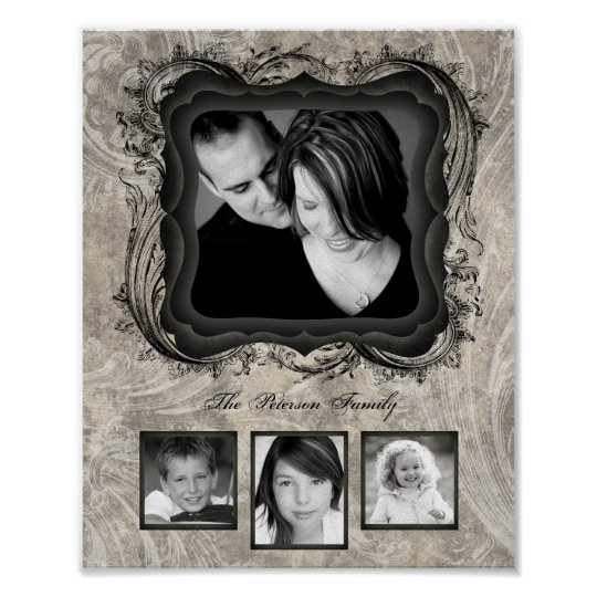 "8""x10"" 4 Slot Family Collage Montage Timeless Beau Poster"