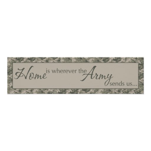 """8""""x30"""" Home Is Where ARMY Sends Us Wall Art Decora"""