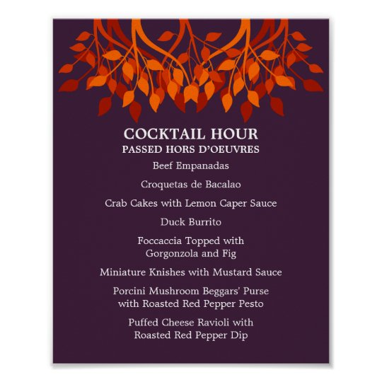 8 x 10 Cocktail Table Menu for  Framing Poster
