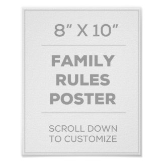"8"" x 10"" Family Rules Poster"