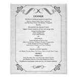 8 x 10 Vintage Linen Table Dinner Menu for Framing Photo Print