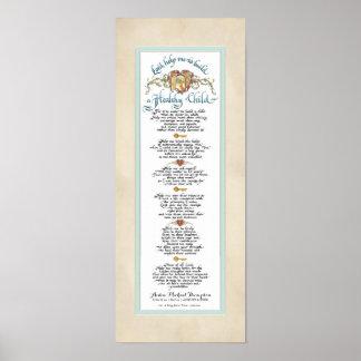 8 x 20 Build a Healthy Child, Parchment Aqua Blue Poster