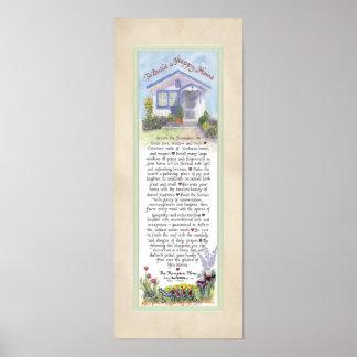 8 x 20 To Build a Happy Home, Parchment Mint Poster