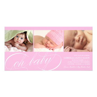 8 x 4 Oh Baby   Birth Announcement Photo Card