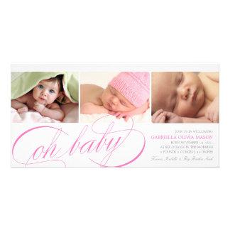 8 x 4 oh invitación del nacimiento del bebé | tarjetas fotograficas personalizadas