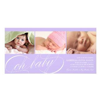 8 x 4 oh invitación del nacimiento del bebé | tarjeta personal con foto