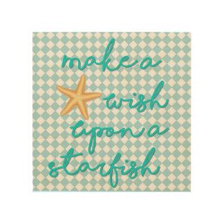 8 x 8 Wood Wall Art - Make a Wish Upon a Starfish
