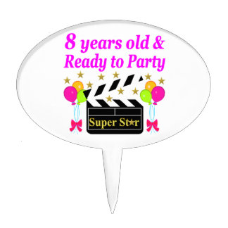 8 YEAR OLD AND READY TO PARTY MOVIE STAR DESIGN CAKE TOPPER