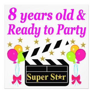 8 YEAR OLD AND READY TO PARTY MOVIE STAR DESIGN PHOTO PRINT