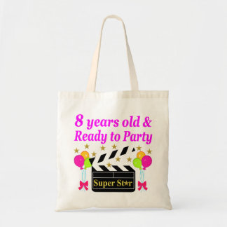 8 YEAR OLD AND READY TO PARTY MOVIE STAR DESIGN TOTE BAG