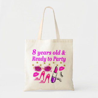 8 YEAR OLD AND READY TO PARTY PRINCESS DESIGN TOTE BAG
