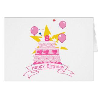 8 Year Old Birthday Cake Greeting Cards