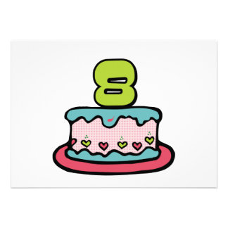 8 Year Old Birthday Cake Announcements