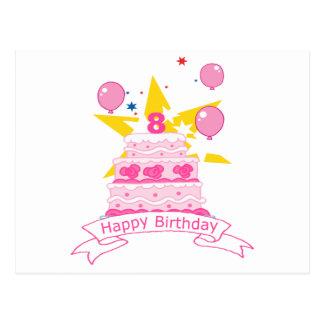 8 Year Old Birthday Cake Postcard
