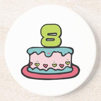 8 Year Old Birthday Cake Sandstone Coaster