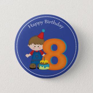 8 year old boys Happy Birthday Button