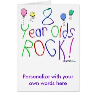 8 Year Olds Rock Card
