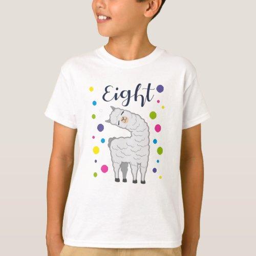 8 Years Birthday Gift Kids Llama Alpaca T_Shirt