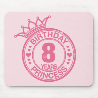 8 years - Birthday Princess - pink Mouse Pad