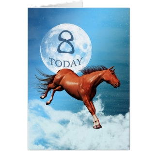 8 years old birthday card with spirit horse