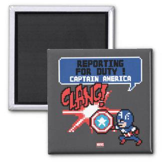 ¡8Bit ataque del capitán América - información Imán Cuadrado