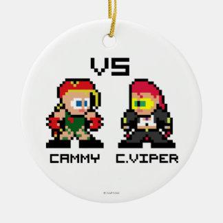 8bit Cammy VS C.Viper Double-Sided Ceramic Round Christmas Ornament