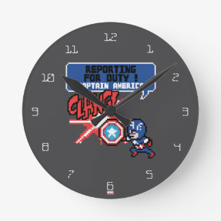8Bit Captain America Attack - Reporting For Duty! Round Clock