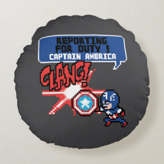 8Bit Captain America Attack - Reporting For Duty! Round Pillow