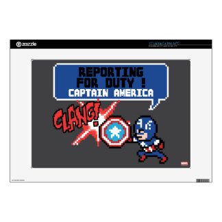 8Bit Captain America Attack - Reporting For Duty! Skins For Laptops