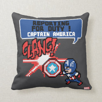 8Bit Captain America Attack - Reporting For Duty! Throw Pillow