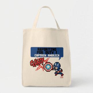 8Bit Captain America Attack - Reporting For Duty! Tote Bag