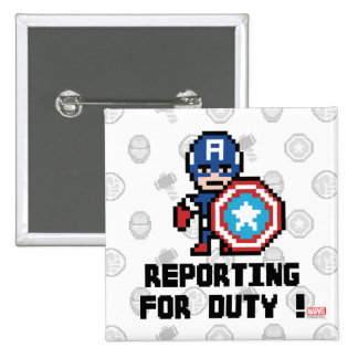 8Bit Captain America - Reporting For Duty! Button