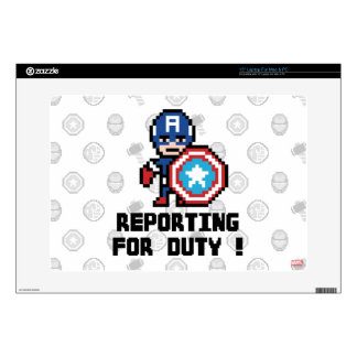 8Bit Captain America - Reporting For Duty! Laptop Decals